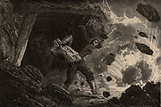 Explosion of Fire-damp (methane) in a mine.   From  'Le Journal de la Jeunesse' (Paris 1885). Wood engraving.
