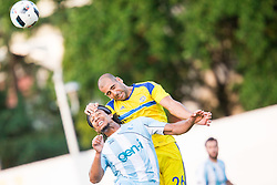 Theodore Wilson of Gorica vs Tal Ben Haim of Maccabi during 2nd Leg football match between ND Gorica and Maccabi Tel Aviv FC (ISR) in First Qualifying Round of UEFA Europa League 2016/17, on July 7, 2016 in Sports park Nova Gorica, Slovenia. Photo by Vid Ponikvar / Sportida