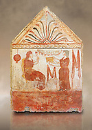 Lucanian fresco tomb painting of the deceased holding a pomegranate. Paestrum, Andriuolo. 3rd Century BC .<br /> <br /> If you prefer to buy from our ALAMY PHOTO LIBRARY  Collection visit : https://www.alamy.com/portfolio/paul-williams-funkystock - Scroll down and type - Paestum Fresco - into LOWER search box. {TIP - Refine search by adding a background colour as well}.<br /> <br /> Visit our ANCIENT GREEKS PHOTO COLLECTIONS for more photos to download or buy as wall art prints https://funkystock.photoshelter.com/gallery-collection/Ancient-Greeks-Art-Artefacts-Antiquities-Historic-Sites/C00004CnMmq_Xllw