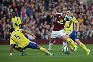 Scott Arfield of Burnley goes past Ashley Williams of Everton. Premier League match, Burnley v Everton at Turf Moor in Burnley , Lancs on Saturday 22nd October 2016.<br /> pic by Chris Stading, Andrew Orchard sports photography.