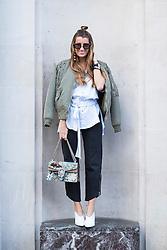 Silvia Garcia (Bartaba blog) during London Fashion Week Autumn/Winter 2017 in London.  Picture date: Friday 17th February 2017. Photo credit should read: DavidJensen/EMPICS Entertainment