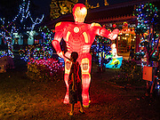 """28 JANUARY 2017 - SAMUT PRAKAN, SAMUT PRAKAN, THAILAND: A boy looks at a lantern in the form of science fiction character """"Ultra Man"""" at the Chinese New Year Lantern Festival at the Tham Katanyu Foundation shrine in Samut Prakan, a suburb about 15 miles from Bangkok. More than 5,000 handmade lanterns imported from Taiwan are hung on the grounds of the shrine. Some of the lanterns are traditional Chinese lanterns, others are in the shapes of people or deities. There is also traditional Chinese entertainment, likes lion dances, at the festival.     PHOTO BY JACK KURTZ"""