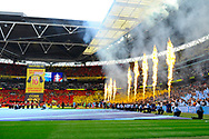 The teams come out of the tunnel with flames shooting up in the air and fireworks during the The FA Cup Final match between Manchester City and Watford at Wembley Stadium, London, England on 18 May 2019.