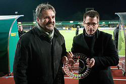 Stane Orazem of NK Domzale and Ales Zavrl of NZS during celebration of 90-years Anniversary of NK Domzale on October 15, 2011, in Stadium Sports park, Domzale, Slovenia.   (Photo by Vid Ponikvar / Sportida)
