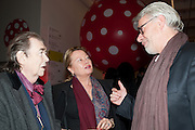 PETER FFRENCH-HODGES; CAROLINE FFRENCH-HODGES; CHRIS DERCON, Yayoi Kusama opening. Tate Modern. London. 7 February 2012