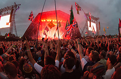 Radiohead performing live on the Pyramid stage in the headline slot on Day 1 of the 2017 Glastonbury Festival at Worthy Farm in Somerset. Photo date: Friday, June 23, 2017. Photo credit should read: Richard Gray/EMPICS Entertainment