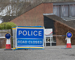 © Licensed to London News Pictures. 20/03/2018. Salisbury, UK. A 'police road closed' sign is visible on the road leading to the house of Sergei Skripal. Former Russian spy Sergei Skripal, his daughter Yulia are still critically ill after being poisoned with nerve agent. The couple where found unconscious on bench in Salisbury shopping centre. Authorities continue to investigate. Photo credit: Peter Macdiarmid/LNP