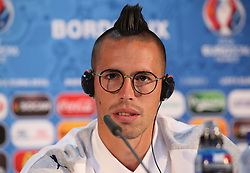 BORDEAUX, FRANCE - Friday, June 10, 2016: Slovakia's Marek Hamsik during a press conference at the Stade de Bordeaux ahead of their opening game of the UEFA Euro 2016 Championship against Wales. (Pic by UEFA Handout/Propaganda)
