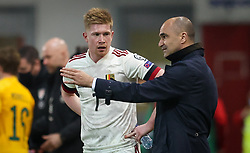 File photo dated 24-03-2021 of Belgium's Kevin De Bruyne speaking with head coach Roberto Martinez. Issue date: Tuesday June 1, 2021.