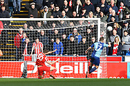 Wycombe Wanderers Luke Bolton (17) misses an open goal*** during the EFL Sky Bet League 1 match between Wycombe Wanderers and Sunderland at Adams Park, High Wycombe, England on 9 March 2019.