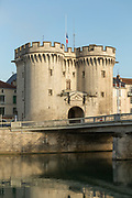 View of 15th century gate with towers in Verun, France