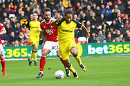 Burton Albion midfielder Hope Akpan (21) and Nottingham Forest defender Danny Fox (13) during the EFL Sky Bet Championship match between Nottingham Forest and Burton Albion at the City Ground, Nottingham, England on 21 October 2017. Photo by John Potts.