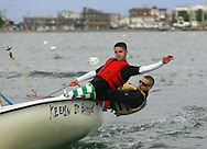Hull, MA 05/04/2010.Matt Dooley (left) and Brian Chase pick up speed as they sail through the harbor on May 4..Alex Jones / The Patriot Ledger