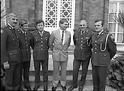 Ciaran Fitzgerald Honoured..1986..05.09.1986..09.05.1986..5th September 1986..To mark his retirement from the Defence Forces, Ciaran Fitzgerald was presented with a Hi-fi system by his colleagues. Ciaran is a noted rugby player and has captained Ireland in many international matches...Photograph of Ciaran Fitzgerald who received a presentation from his army colleagues at Mc Kee Barracks today. Brig.Gen Vincent Savino(5th from left),G.O.C.Eastern Command made the presentation on their behalf. Included in the  photo are some of his classmates from the Cadet School,Curragh..Comdt. S. O'Meara,Clonmel,Comdt. J.Minogue,Cork, Comdt. T O'Sullivan,Dublin and Comdt. T.Carter, Templemore.