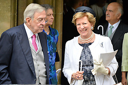Ex King Constantine II and wife Queen Anne-Marie at the wedding of the Hon.Alexandra Knatchbull to Thomas Hooper held at Romsey Abbey, Romsey, Hampshire on 25th June 2016