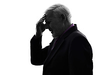 One Caucasian Senior Business Man headache Silhouette White Background