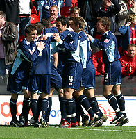 Photo: Dave Linney.<br />Nottingham Forest v Bournemouth. Coca Cola League 1. 29/04/2006.Bournemouth's Steve Fletcher is mobbed after making it 1-0