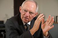 07 MAY 2013, BERLIN/GERMANY:<br /> Wolfgang Schaeuble, CDU, Bundesfinanzminister, waehrend einem Interview, in seinem Buero, Bundesministerium der Finanzen<br /> IMAGE: 20130507-01-018<br /> KEYWORDS: Wolfgang Schäuble