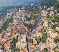 Aerial view of a curved road in the picturesque village of Aley in Lebanon.