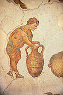 6th century Byzantine Roman mosaics of a man with an amphora from the peristyle of the Great Palace from the reign of Emperor Justinian I. Istanbul, Turkey. .<br /> <br /> If you prefer to buy from our ALAMY PHOTO LIBRARY  Collection visit : https://www.alamy.com/portfolio/paul-williams-funkystock/istanbul.html<br /> <br /> Visit our TURKEY PHOTO COLLECTIONS for more photos to download or buy as wall art prints https://funkystock.photoshelter.com/gallery-collection/3f-Pictures-of-Turkey-Turkey-Photos-Images-Fotos/C0000U.hJWkZxAbg .<br /> <br /> If you prefer to buy from our ALAMY PHOTO LIBRARY  Collection visit : https://www.alamy.com/portfolio/paul-williams-funkystock/great-palace-mosaic-istanbul.html<br /> <br /> Visit our ROMAN MOSAIC PHOTO COLLECTIONS for more photos to download  as wall art prints https://funkystock.photoshelter.com/gallery-collection/Roman-Mosaics-Art-Pictures-Images/C0000LcfNel7FpLI