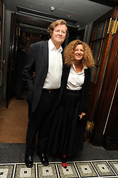 SIR DAVID HARE and his wife fashion designer NICOLE FARHI at Vogue's Celebation of Fashion dinner held at The Albermarle, Brown's Hotel, Albermarle Street, London on 18th September 2008.