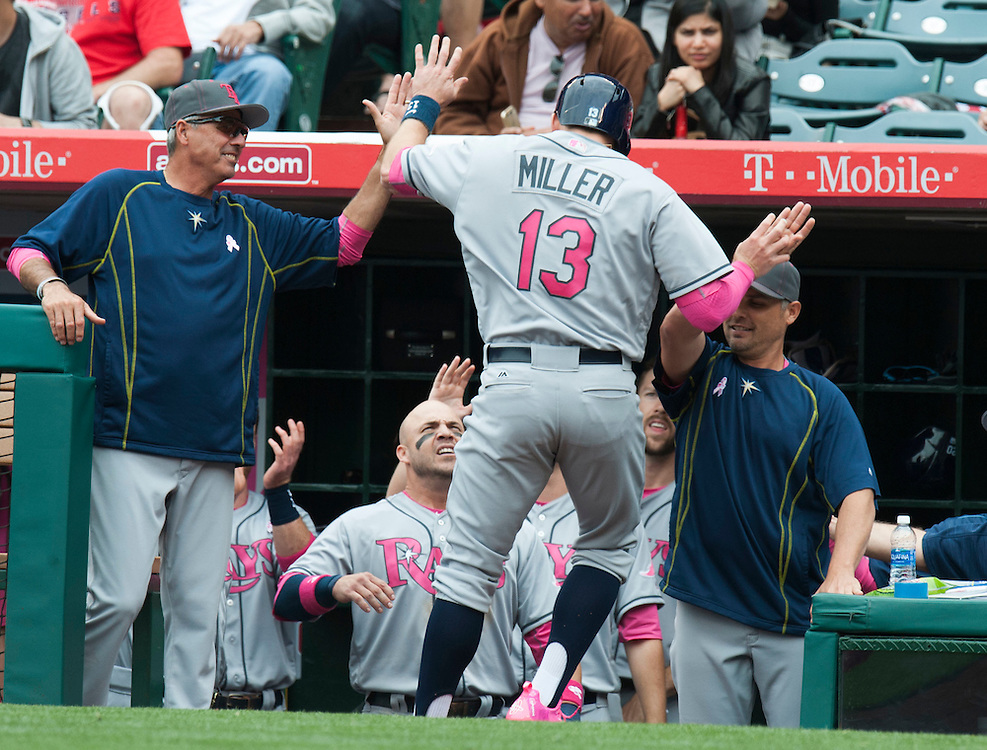 The Rays' Brad Miller is welcomed into the dugout after his two run home run in the third inning Sunday at Angel Stadium.<br /> <br /> ///ADDITIONAL INFO:   <br /> <br /> angels.0509.kjs  ---  Photo by KEVIN SULLIVAN / Orange County Register  --  5/8/16<br /> <br /> The Los Angeles Angels take on the Tampa Bay Rays at Angel Stadium Sunday.<br /> <br />  5/8/16