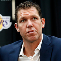 EL SEGUNDO, CA - JUN 26: Luke Walton of the Los Angeles Lakers answers question during an introductory press conference at the UCLA Health Training Center on June 26, 2018 in El Segundo, California.