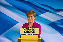 Edinburgh, Scotland, UK. 13th Dec 2019. First Minister of Scotland Nicola Sturgeon makes speech in Edinburgh following SNP successes in Scotland at the General Election. She stated that her main objective now is to seek another referendum on Scottish Independence, She said the large SNP gains in Scotland gave her a mandate to call another referendum. Iain Masterton/Alamy Live News