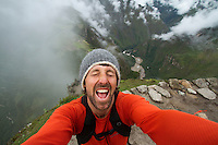 Self portrait while visiting the Inca city, Machu Picchu, Peru