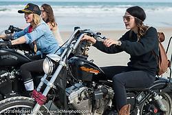Kissa Von Addams, Leticia Cline and Deneille Basualdo riding on Daytona Beach during Daytona Bike Week 75th Anniversary event. FL, USA. Thursday March 3, 2016.  Photography ©2016 Michael Lichter.