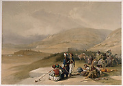 Men resting their camels and smoking by Jacob's Well at Shechem (Nablus), Palestine. Coloured lithograph by L. Haghe after D. Roberts, 1839.