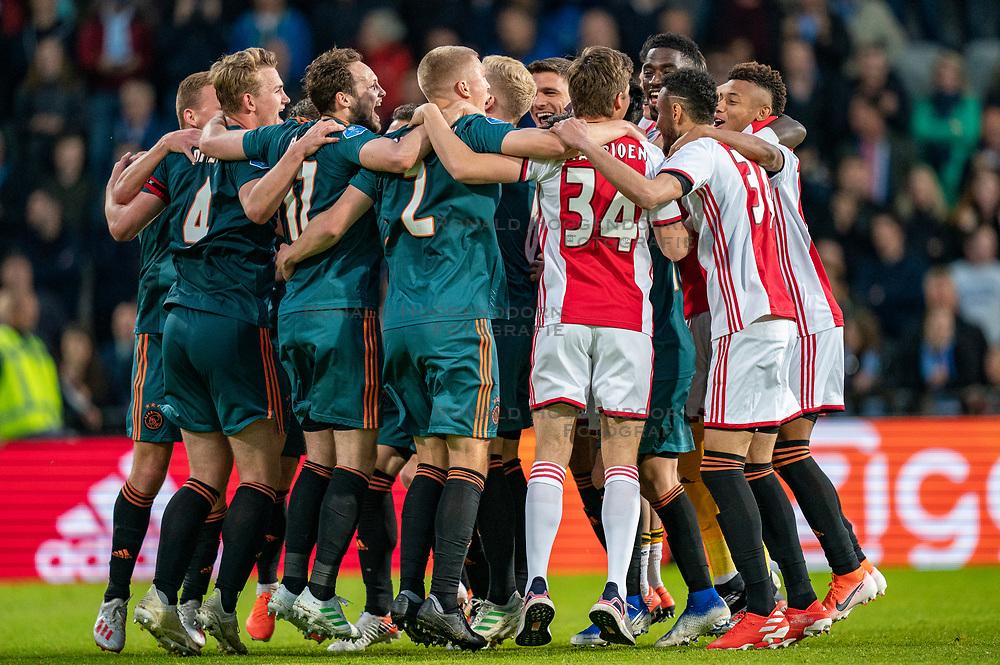 15-05-2019 NED: De Graafschap - Ajax, Doetinchem<br /> Round 34 / It wasn't really exciting anymore, but after the match against De Graafschap (1-4) it is official: Ajax is champion of the Netherlands / Matthijs de Ligt #4 of Ajax, Rasmus Kristensen #2 of Ajax, Daley Blind #17 of Ajax, Nicolas Tagliafico #31 of Ajax, Lasse Schone #20 of Ajax