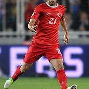 Turkey's Omer Toprak during their FIFA World Cup 2014 qualifying soccer match Turkey betwen Romania at Sukru Saracoglu stadium in Istanbul october 12, 2012. Photo by TURKPIX