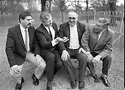 """First Dublin Road Bowling Tournament. (R99)..1989..03.04.1989..04.03.1989..3rd April 1989..The first Dublin road bowling tournament, sponsored by AIB and run by Bol Chumann Na hÉireann, in aid of Cerebral Palsy Ireland. It will take place in the Phoenix Park on Sunday 14th May 1989. This was announced at a reception in the Phoenix Park..The rout of the tournament will be from Mountjoy Crossing through The Whitefields Road to the Phoenix Monument and back the Straight Road to the finishing line at mountjoy Crossing, a distance of two miles..Armagh and Cork will challenge each other for a new Perpetual Trophy """"Super Bol""""...Image shows (L-R), World Champion bowler,Bill Daly, Cork, Mr Pat O'Mahony, General Manager,AIB, Mr Jerry Desmond, Honorary Treasurer,Bol Cumann na hEireann and Mr Norman Cairns,Chairman,Cerebral Palsy Ireland at the press conference to launch the tournament."""