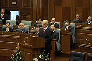 Feb 17, 2008 - Pristina, Kosovo - Kosovo actual president Mr. Fatmir SEJDIU in the Kosovo Parliament Assembly-Room, declared in support of the declaration for Independence, which will be declared by Kosovo Prime Minister Hashim THACI. <br /> (Credit Image: © Vedat Xhymshiti/ZUMA Press)