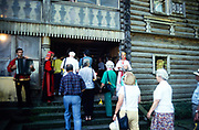 Swan Hellenic tour group being welcomed to tea house cafe at Dagomys Tea Plantation, Sochi, Russia 1997