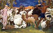 Decoreative motif by Leon Bakst (1866-1924) for the third scene of  'Daphnis and Chloe': the lovers with their flocks.     Music by Maurice Ravel. Choreography by Michel Fokine.  Produced in 1912 by Sergei Diaghilev's Ballets Russes.