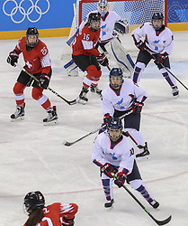 February 10, 2018 - Gangneung, GANGWON, SOUTH KOREA - Feb 10, 2018-Gangneung, South Korea-South Korean Olympic Hockey Team and Swiss Olympic Hockey Team action during the 2018 pyeongchang Winter Olympic Korea v Swiss Women Ice Hockey at Gwandong Hockey Center in Gangwon, South Korea. (Credit Image: © Gmc via ZUMA Wire)