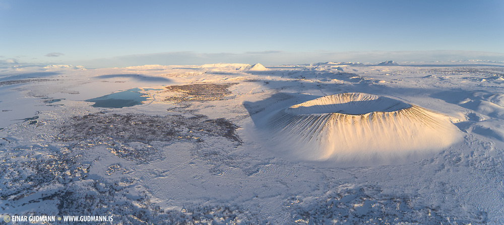 Hverfell (Hverfjall) near Lake Myvatn in winter.
