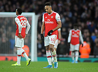 Football - 2019 / 2020 Premier League - Arsenal vs. Chelsea<br /> <br /> Pierre Emerick Aubameyang of Arsenal shows his despair after Chelsea's winning goal, at The Emirates.<br /> <br /> COLORSPORT/ANDREW COWIE