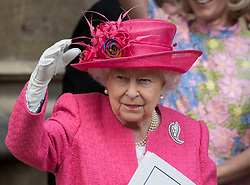 May 18, 2019 - Windsor, United Kingdom - Image licensed to i-Images Picture Agency. 18/05/2019. Windsor , United Kingdom. Queen Elizabeth II waves to the bride and groom as they leave their wedding at St.George's Chapel, Windsor, United Kingdom. (Credit Image: © Stephen Lock/i-Images via ZUMA Press)