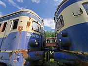 Strasshof, Austria.<br /> Triebwagentage (railcar days) at Das Heizhaus - Eisenbahnmuseum Strasshof, Lower Austria's newly designated competence center for railway museum activities.<br /> Two diesel railcars ÖBB Type 5046 (built 1954-1961, running until 1997) seem to exchange a tender kiss.
