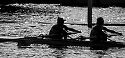 Henley. Berks, United Kingdom. <br /> Silhouette Women's Double Scull,  heat at 2017 Henley' Women's Regatta. Rowing on, Henley Reach. River Thames. <br /> <br /> <br /> Saturday  17/06/2017<br /> <br /> <br /> [Mandatory Credit Peter SPURRIER/Intersport Images]