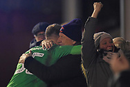 AFC Wimbledon goalkeeper Aaron Ramsdale (35) gets a cuddle after the win during the EFL Sky Bet League 1 match between Walsall and AFC Wimbledon at the Banks's Stadium, Walsall, England on 12 February 2019.