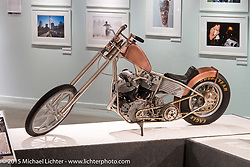"""Johnny Branch's copper plated '69 shovelhead custom in Michael Lichter's annual Motorcycles as Art Show """"Naked Truth"""" at the Buffalo Chip during the 75th Annual Sturgis Black Hills Motorcycle Rally.  SD, USA.  August 6, 2015.  Photography ©2015 Michael Lichter."""