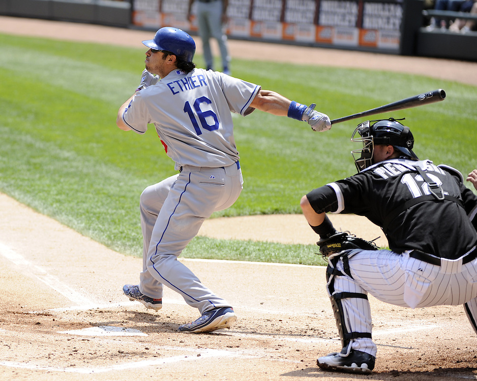 CHICAGO - MAY 22:  Andre Ethier #16 of the Los Angeles Dodgers bats against the Chicago White Sox on May 22, 2011 at U.S. Cellular Field in Chicago, Illinois.  The White Sox defeated the Dodgers 8-3.  (Photo by Ron Vesely)  Subject:   Andre Ethier