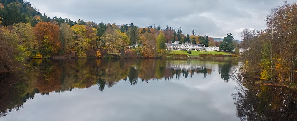 Loch Fiskally Autumnal Reflections looking towards The Green Park Hotel.<br /> Neil Bain   EEm 4th November 2017