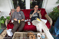 Richard Duda and Craig Jackman relaxe at the Hosted lunch stop at Cyclemos Museum in Red Boiling Springs, TN during Stage 4 of the Motorcycle Cannonball Cross-Country Endurance Run, which on this day ran from Chatanooga to Clarksville, TN., USA. Monday, September 8, 2014.  Photography ©2014 Michael Lichter.