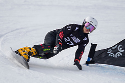 Ruxin Zang (CHN) during Final Run at Parallel Giant Slalom at FIS Snowboard World Cup Rogla 2019, on January 19, 2019 at Course Jasa, Rogla, Slovenia. Photo byJurij Vodusek / Sportida