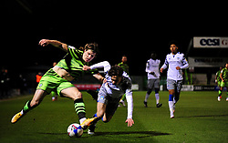 Josh Davison of Forest Green Rovers collides with Harvey Sayer of Colchester United- Mandatory by-line: Nizaam Jones/JMP - 27/02/2021 - FOOTBALL - The innocent New Lawn Stadium - Nailsworth, England - Forest Green Rovers v Colchester United - Sky Bet League Two